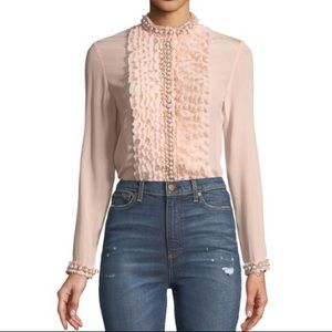 Alice + Olivia Button Up Pink Blouse Pearls Ruffle